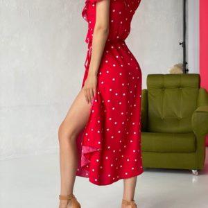 Купить красное женское платье в горошек из льна (размер 42-52) по скидке
