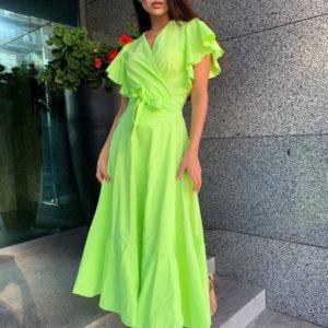 Заказать салатовое яркое платье с крылышками на рукавах для женщин онлайн