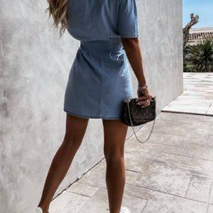 Заказать голубое женское Джинсовое платье с коротким рукавом (размер 42-48) недорого