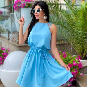 Заказать голубое платье с поясом на завязках (размер 42-48) для женщин недорого