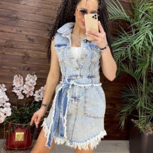 Купить по скидке голубое джинсовое платье с необработанными краями (размер 42-48) для женщин