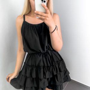 Приобрести недорого женское летнее платье с рюшами черного цвета