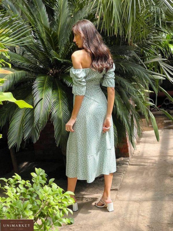 Приобрести женское платье миди из льна с разрезом цвета фисташка в Украине