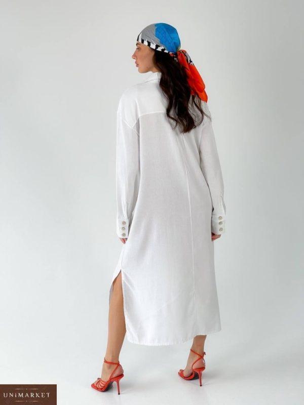 Приобрести онлайн белое длинное платье-рубашка из льна (размер 42-50) для женщин