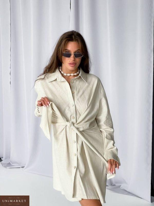 Купить беж женское платье-рубашка оверсайз (размер 42-50) по скидке