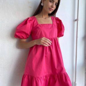 Заказать онлайн розовое женское платье с квадратной открытой спиной