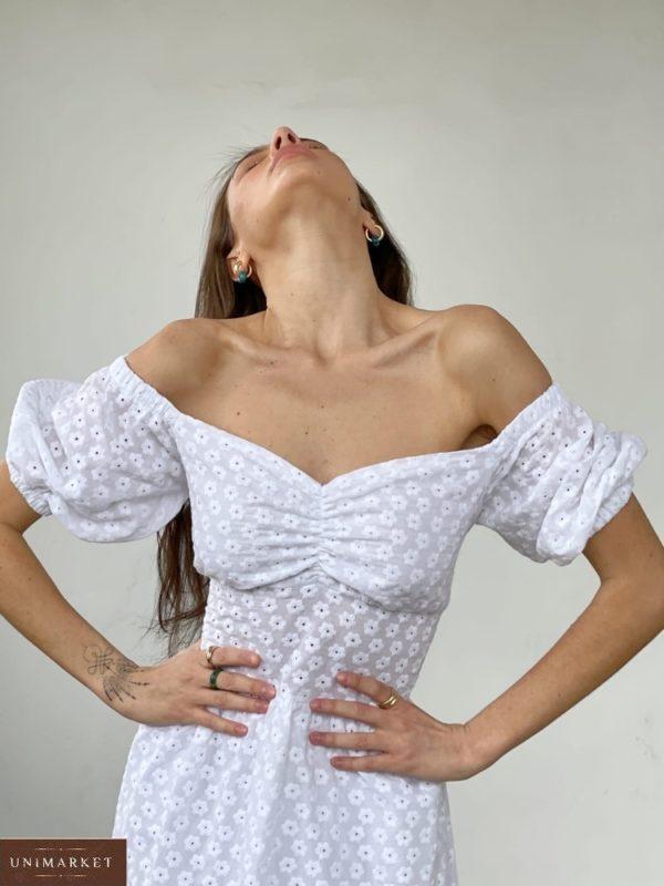 Купить онлайн белое платье с открытыми плечами и шнуровкой (размер 42-52) для женщин