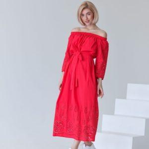 Приобрести малиновое женское длинное платье из хлопка (размер 42-54) в Украине
