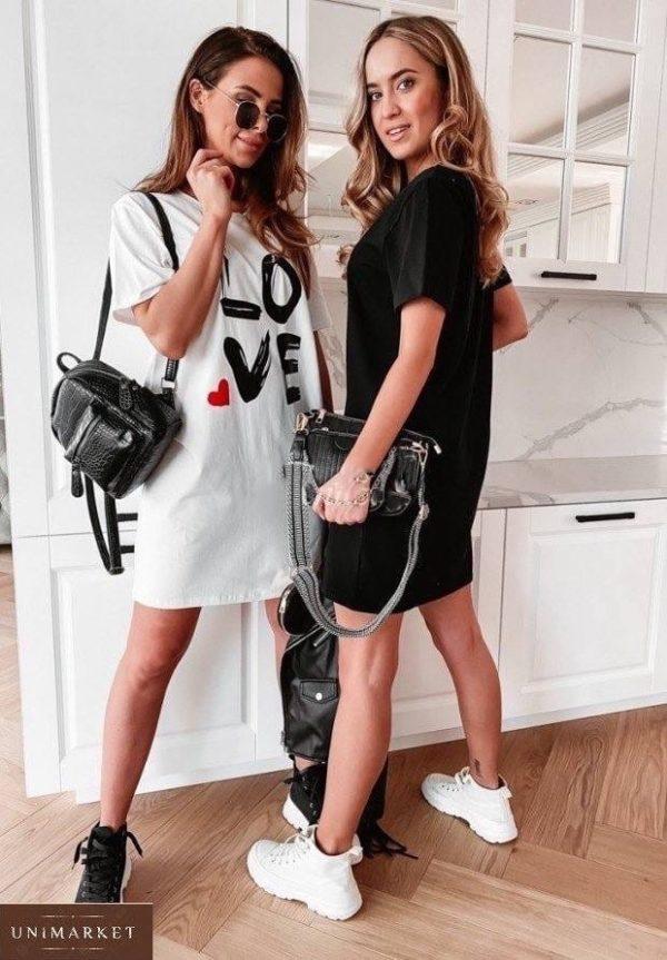 Приобрести черное, белое женское хлопковое платье Love (размер 42-48) в интернете