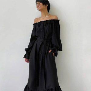 Купить черное для женщин платье-рубашка из льна по скидке с открытыми плечами