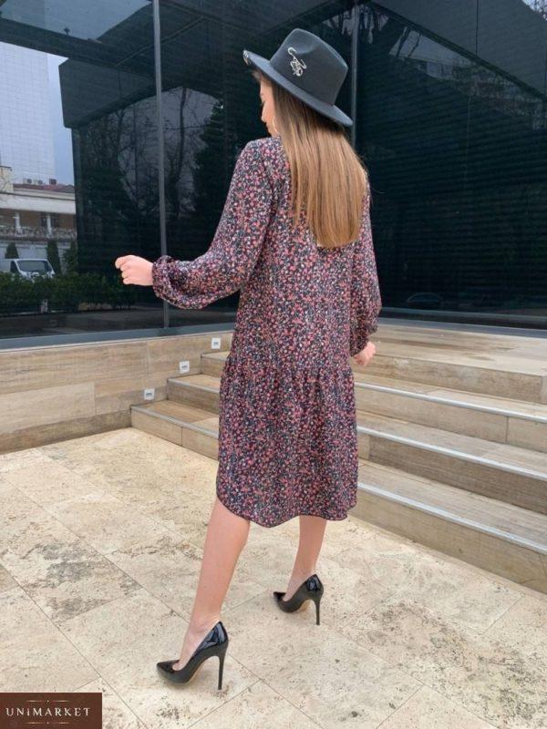 Заказать черное женское свободное платье миди с длинным рукавом (размер 42-48) недорого