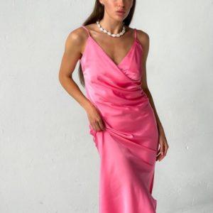 Купить розовое женское шелковое платье комби в интернете