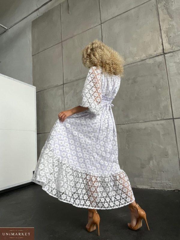 Приобрести женское платье с сеткой в цветочный принт (размер 42-52) белое недорого