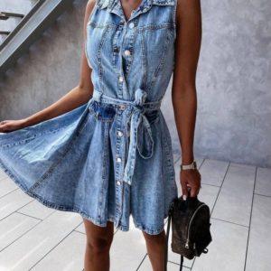 Заказать женское джинсовое платье без рукавов (размер 42-48) выгодно голубого цвета