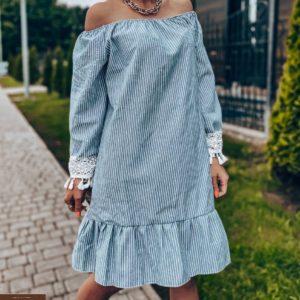 Приобрести недорого женское платье в полоску из льна голубого цвета