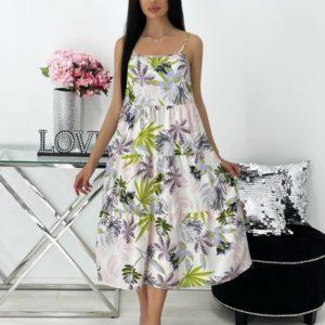 Купить выгодно зеленое летнее платье миди с принтом (размер 42-48) для женщин