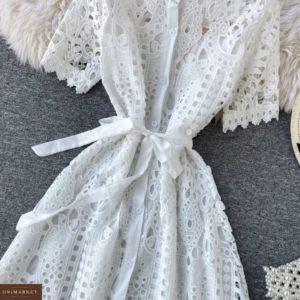 Купить по скидке белое кружевное платье-рубашку для женщин