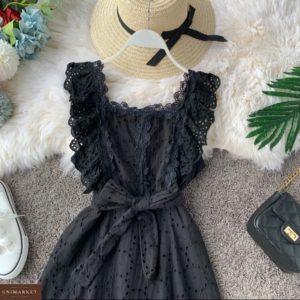 Приобрести женское платье из прошвы с кружевной отделкой черного цвета дешево