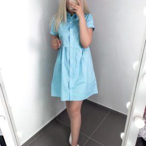 Заказать голубое летнее платье-рубашка для женщин выгодно