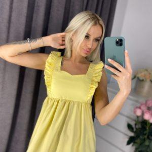 Заказать недорого желтое летнее платье с рюшами (размер 42-48) для женщин