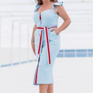 Заказать онлайн голубое летнее платье на пуговицах с поясом (размер 42-56) для женщин