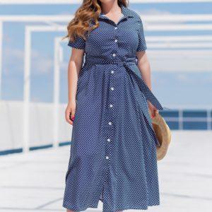Купить синего цвета женское платье-рубашка миди в горошек (размер 42-56) в интернете