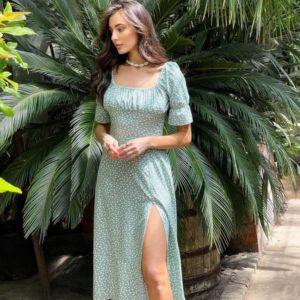 Заказать оливка платье миди из льна с разрезом для женщин онлайн
