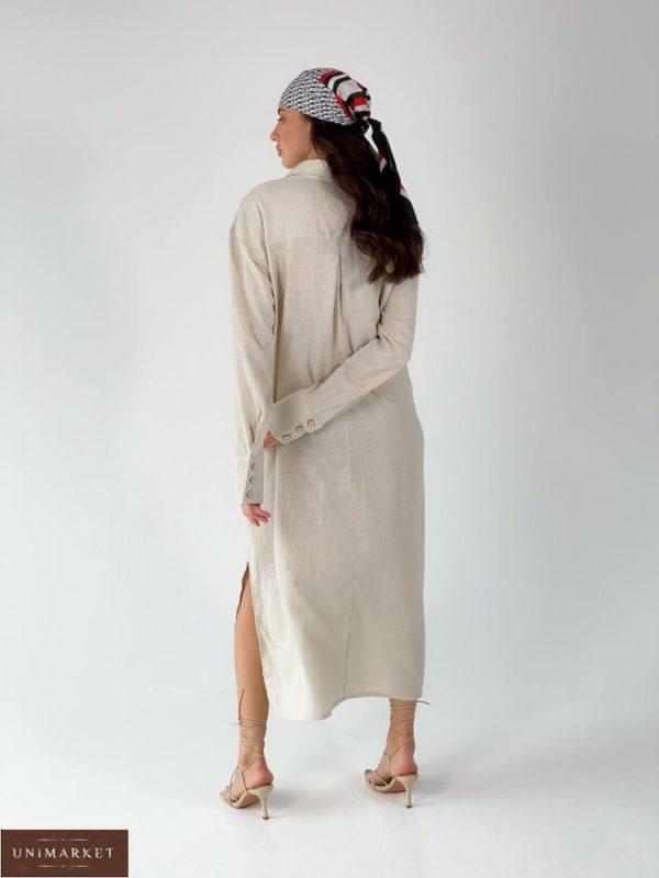 Приобрести беж женское длинное платье-рубашка из льна (размер 42-50) онлайн