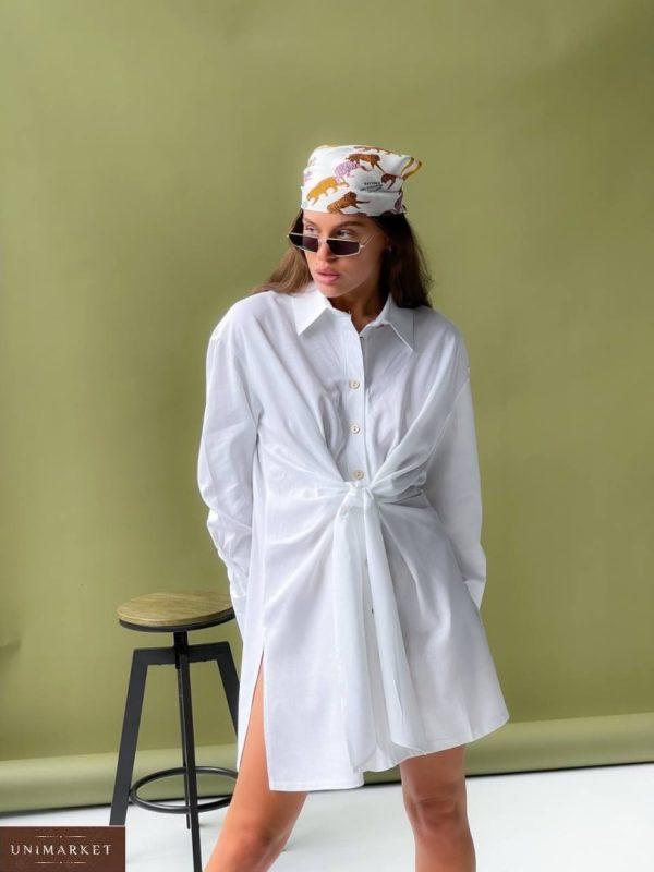 Заказать белое женское платье-рубашка оверсайз (размер 42-50) в интернете