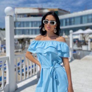 Заказать недорого голубое платье с рюшами и открытыми плечами (размер 42-48) для женщин