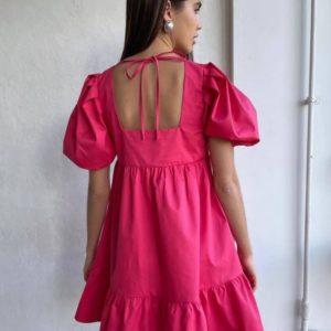Купить малиновое платье с квадратной открытой спиной для женщин по скидке