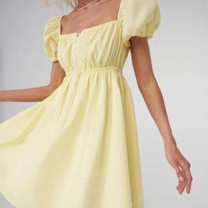 Заказать недорого женское летнее платье со шнуровкой на груди желтого цвета