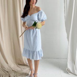 Купить недорого голубое платье с открытыми плечами и шнуровкой (размер 42-52) для женщин