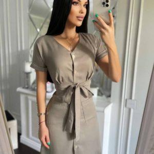 Купить онлайн на лето капучино приталенное платье-рубашку мини для женщин