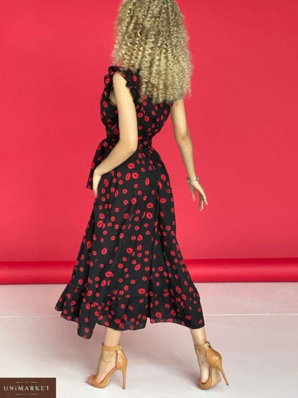Купить выгодно черное летнее платье с поцелуями (размер 42-52) для женщин