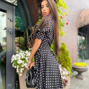 Купить недорого черное платье в горошек на запах для женщин с рукавами-фонариками