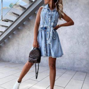 Приобрести голубое джинсовое платье без рукавов (размер 42-48) онлайн для женщин