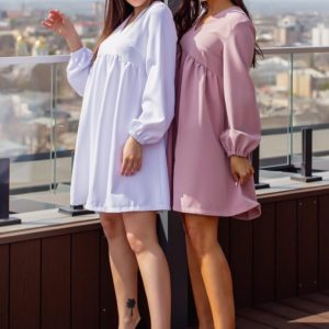 Купить по скидке женское свободное платье с длинным рукавом (размер 42-52) белое, мокко