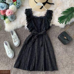 Купить хорошего качества женское платье из прошвы с кружевной отделкой черное