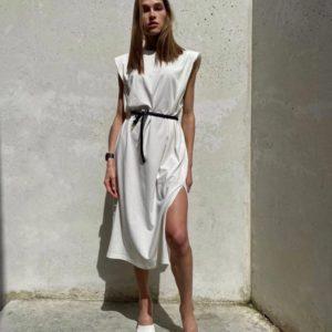 Приобрести белое платье миди с подплечниками в интернете для женщин
