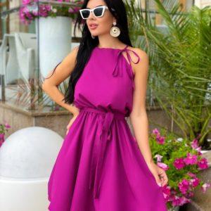 Заказать малиновое женское платье с поясом на завязках (размер 42-48) дешево