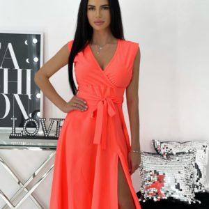 Заказать оранжевое женское однотонное платье с разрезом на ноге (размер 42-48) в Украине