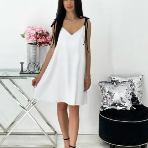 Купить белое женское свободное платье на бретельках-завязках (размер 42-48) онлайн