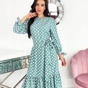 Приобрести по скидке бирюзовое платье в горошек длины миди (размер 42-52) для женщин