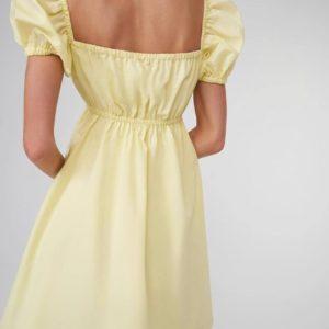 Купить нежно желтое летнее платье со шнуровкой на груди в интернете для женщин
