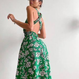 Заказать зеленое недорого платье с принтом и открытой спиной для женщин