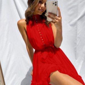 Заказать женское красное платье под шею без рукавов из шифона в интернете