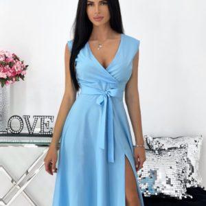 Купить по скидке голубое однотонное платье с разрезом на ноге (размер 42-48) женское