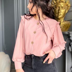 Заказать пудра женскую рубашку из жатки с длинным рукавом (размер 42-56) в интернете