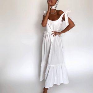 Купить белый женский льняной сарафан с бретелями-завязками (размер 42-48) по скидке